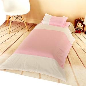 贝比佳/幼儿园全棉六件套/平板白色与平板粉色三节拼75图片