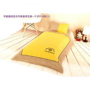 贝比佳/幼儿园全棉六件套/平板咖啡色与平板黄四方拼--Y-SFP-088图片