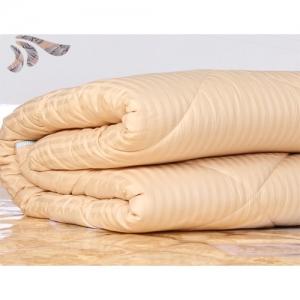 贝比佳/包布长绒棉花被--浅黄一公分条纹图片