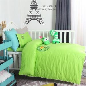 贝比佳纯棉个性定制纯棉素色刺绣幼儿园全棉床上用品套件批发定制图片