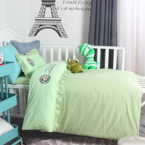 贝比佳托福荷叶边拼接绣花六件套幼儿园全棉床上用品套件批发定制图片