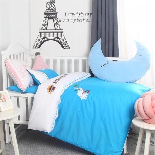 贝比佳调皮象拉筋六件套全棉幼儿园床上套件拼接绣花个性化批发定制图片