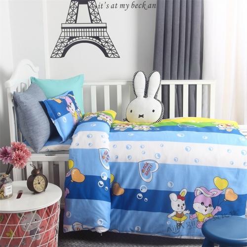 贝比佳快乐兔子六件套幼儿园新疆棉花被套件批发定制图片