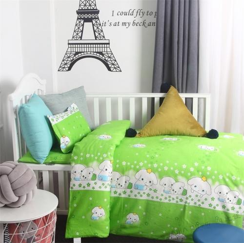 贝比佳绿小白六件套幼儿园新疆棉花被套件批发定制图片